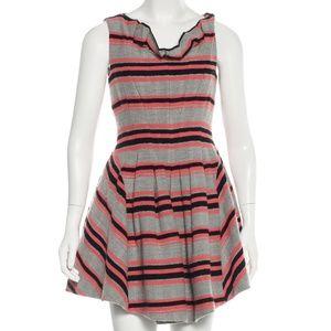 THAKOON Wool-Blend Mini Dress - GREY & CORAL